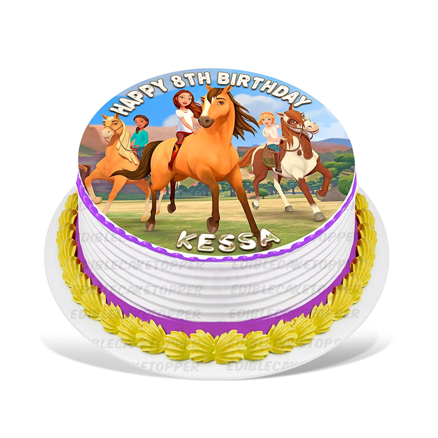 Spirit Riding Free Edible Cake Image Topper Personalized Birthday Party 8 Inches Round Walmart Com Walmart Com