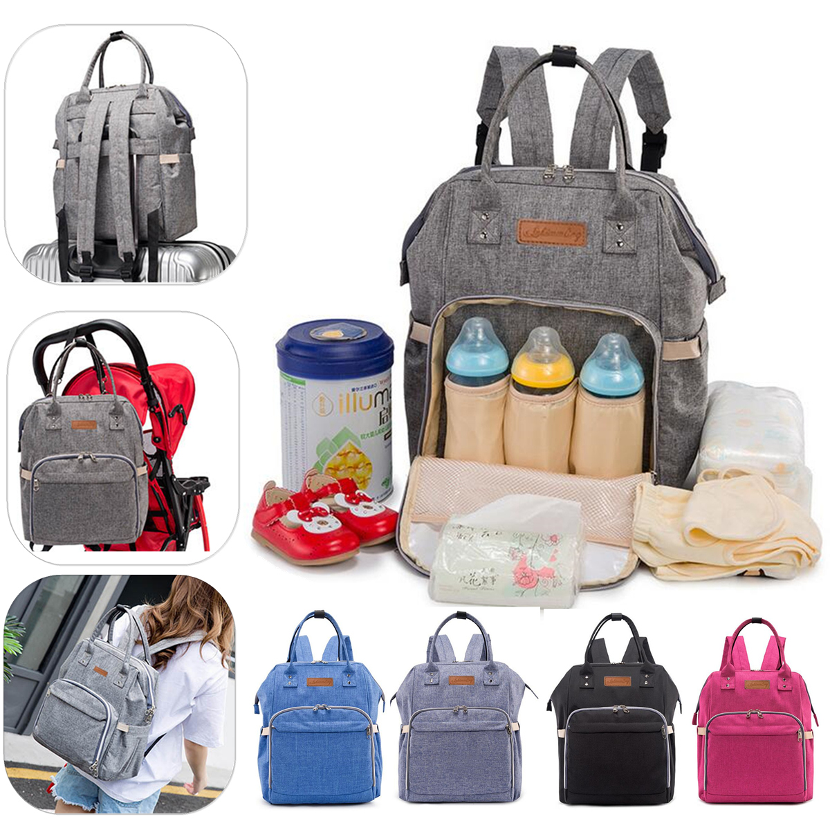Multifunction Mummy Backpack Diaper Nappy Newborn Baby Changing Bag Travel Bags