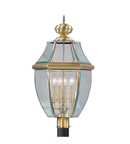 Outdoor Post 4 Light With Clear Beveled Glass Antique Brass size 29 in 240 Watts - World of Crystal