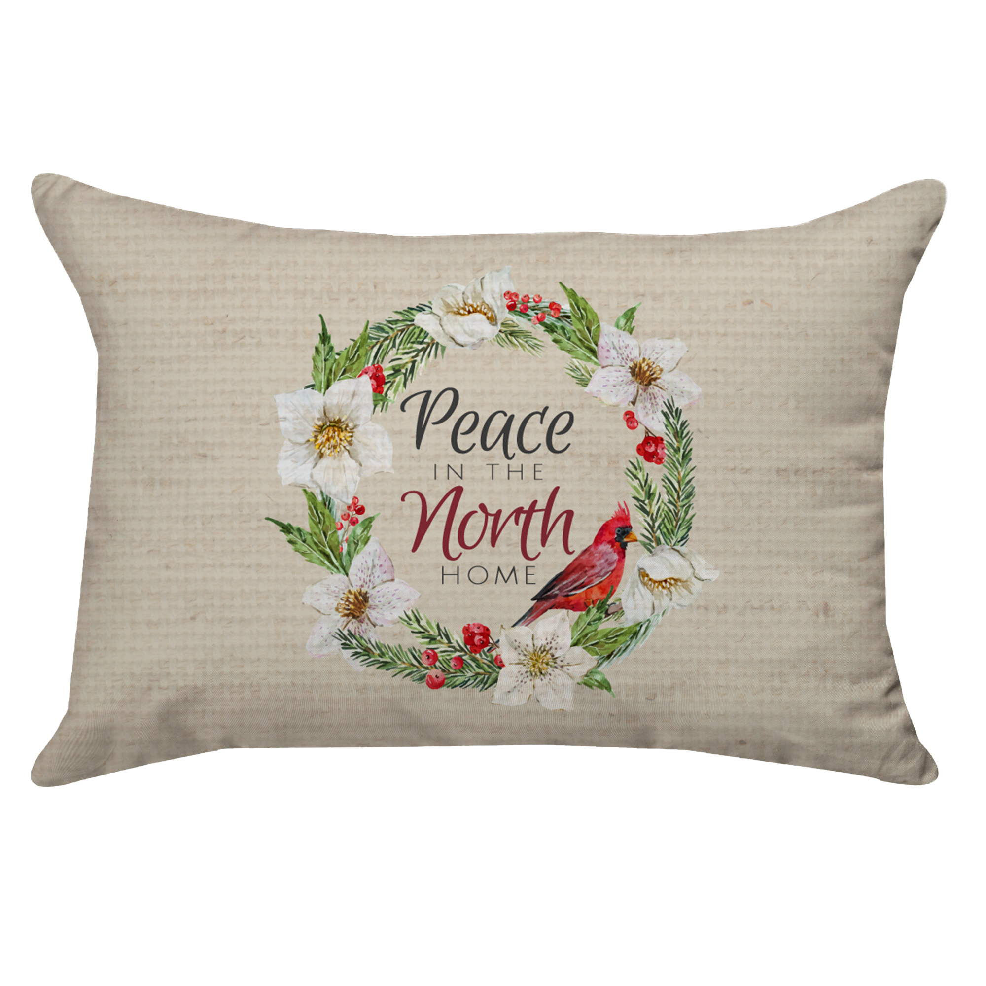 Personalized Cardinal Wreath Peace Poplin Rectangular Throw Pillow in Green/Red