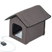 PawHut, Outdoor Heated Cat House, Brown , 21-in