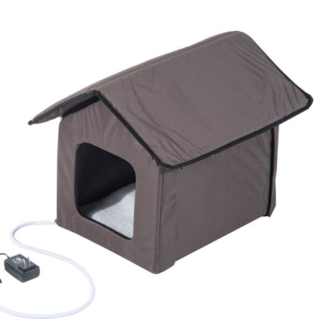 PawHut Outdoor Heated Cat House , Cat Shelter , Brown , 20-in (Cat House Cheap)