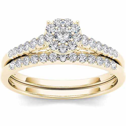 Imperial 1 2 Carat T.W. Diamond 10kt Yellow Gold Cluster Engagement Ring Set by Imperial Jewels