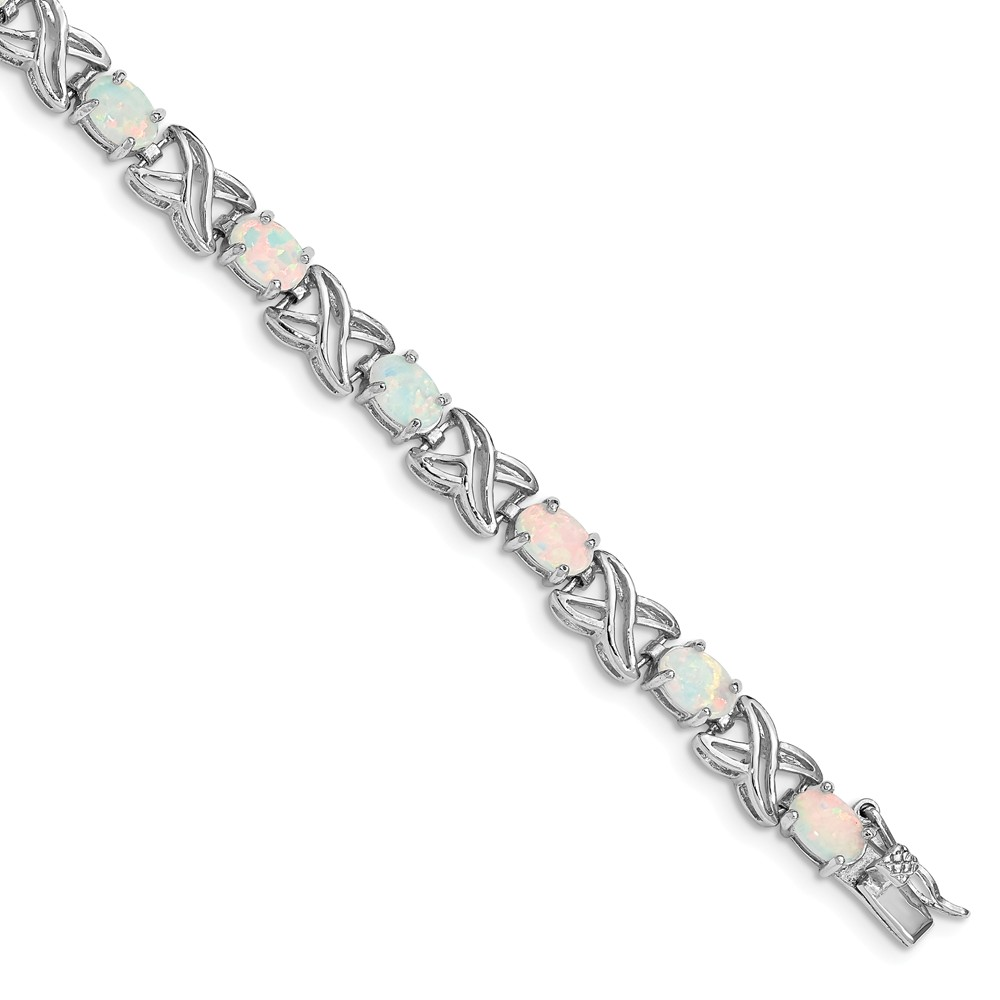 Sterling Silver 7.5 inch Simulated Opal XO Bracelet (6mm) by AA Jewels