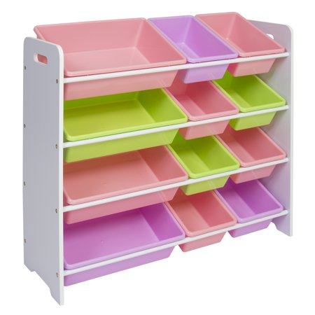 Best Choice Products Toy Bin Organizer Kids Childrens Storage Box Playroom Bedroom Shelf Drawer - Pastel Colors ()