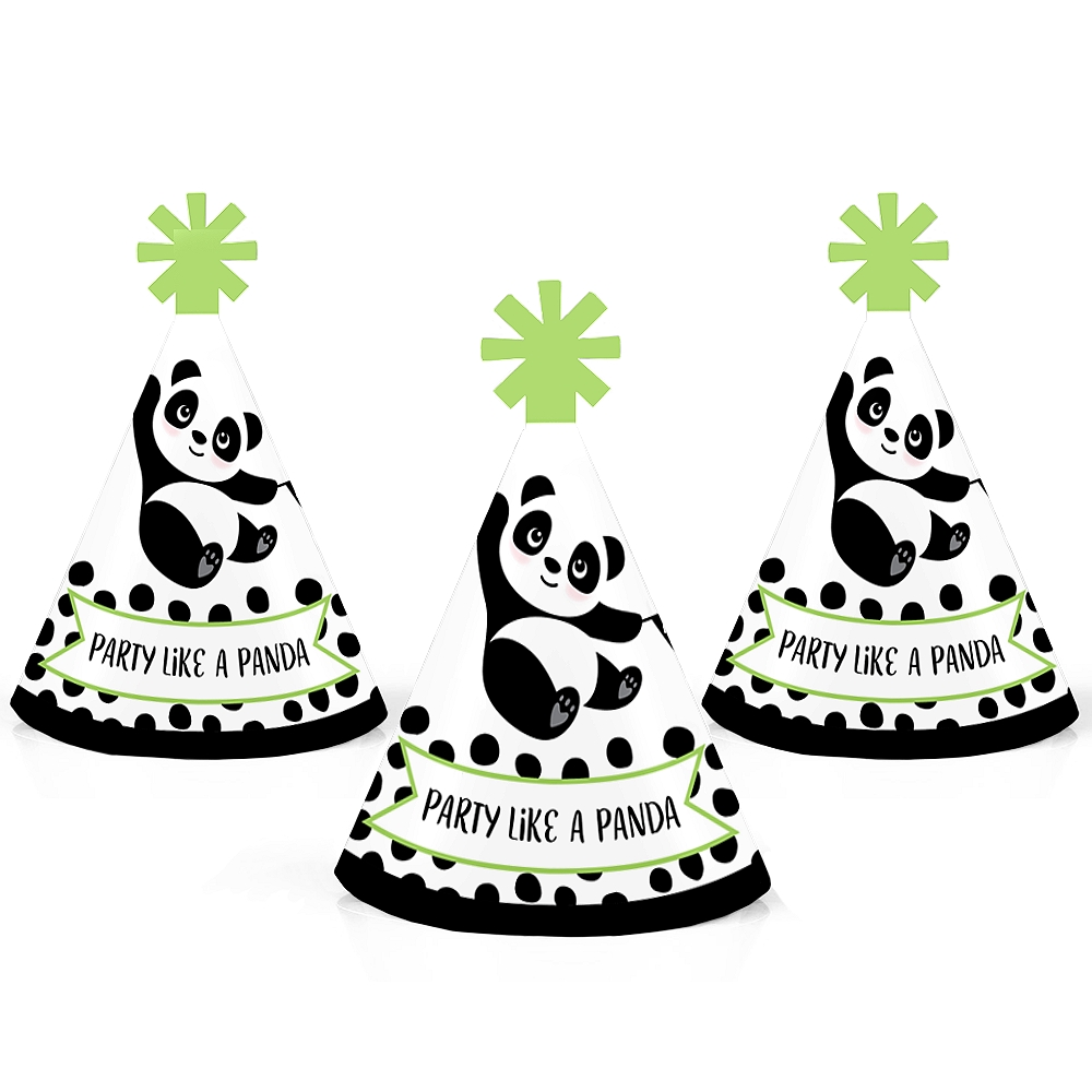 Party Like a Panda Bear - Mini Cone Baby Shower or Birthday Party Hats - Small Little Party Hats - 10 Ct
