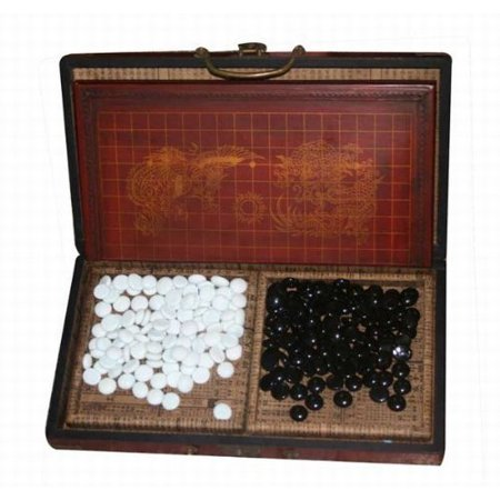 Collectible Chinese Antique Style Go Game Set W. Leather - Age Leather