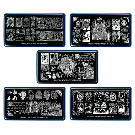 BMC 5pc Happily Never After Nail Stamping Plate Set - Storybook Nightmare Scary Brothers Grimm Halloween Inspired - Cinderella, Snow White, Sleeping Beauty, Hansel & Gretel, Little Red Riding Hood - Scary Books For Halloween