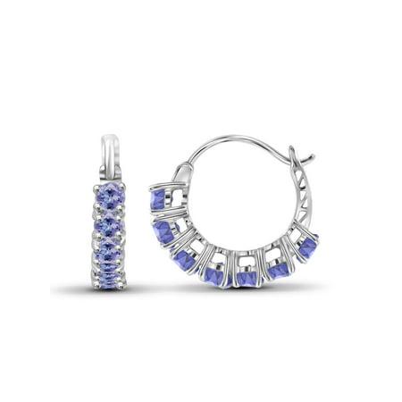 1 1/2 Carat T.G.W. Tanzanite Sterling Silver Hoop Earrings