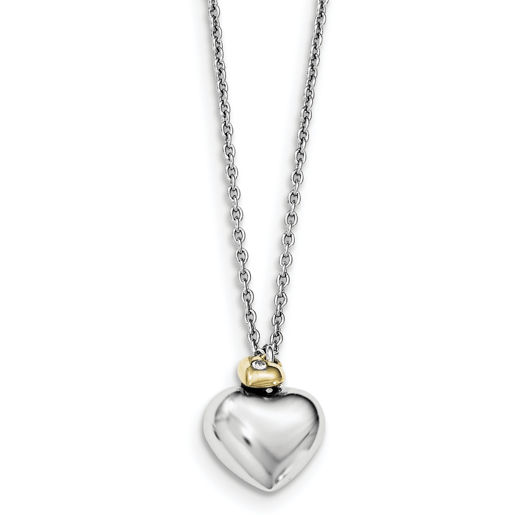 14K Two Tone Gold Heart Mom /& Daughter Charm Pendant with 1.2mm Singapore Chain Necklace