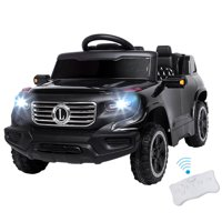 UBesGoo 6V Kids Ride-On Car Truck w/ Remote Control, 3 Speeds, LED Headlights, MP3 Player, Horn - Black