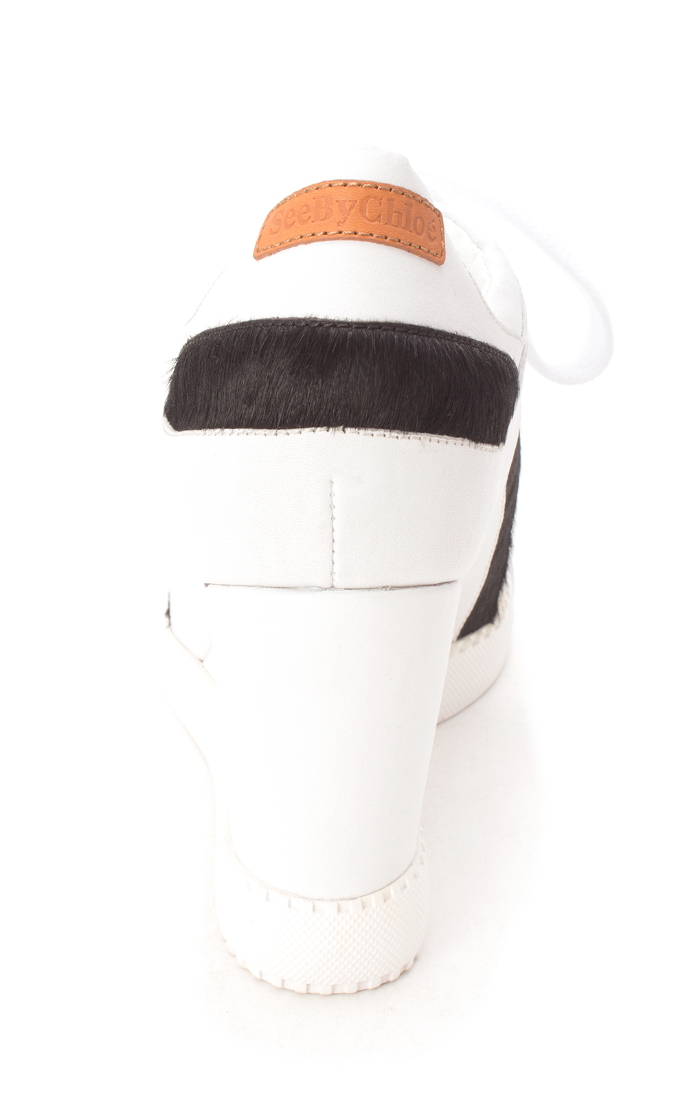 See by Chloé Womens Bianco Hight Top Lace Up Fashion Sneakers, White, Size 9.0
