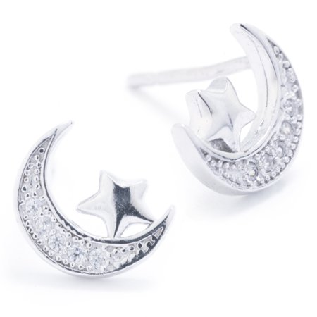 Sterling Silver CZ Pave Moon and Star Stud Earrings