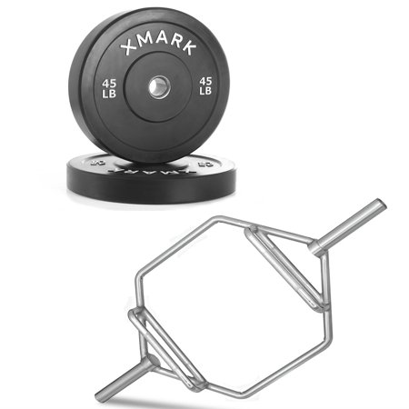 Combo Offer XMark Fitness Chrome Olympic Shrug Bar with Raised Handles XM-3686 and Bumper Plates with Stainless Steel Inserts (Pair of 45 lb. Plates) (Valley Chrome Bumper)