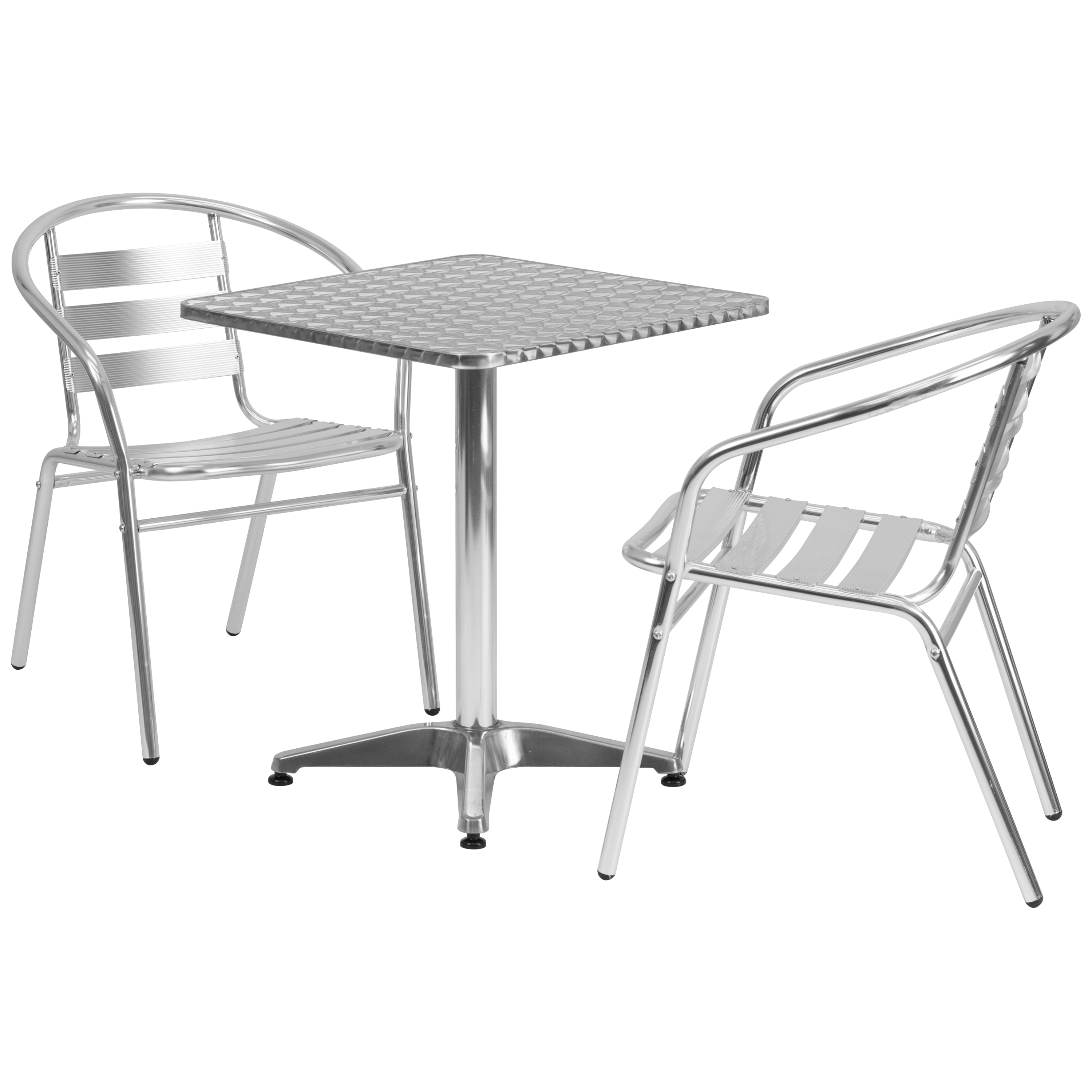 Flash Furniture 23.5-foot Square Aluminum Indoor/ Outdoor Table with 2 Slat Back Chairs