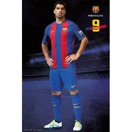 Fc Barcelona   Soccer Poster   Print  Luis Suarez   Season 2016   2017   Size  24   X 36