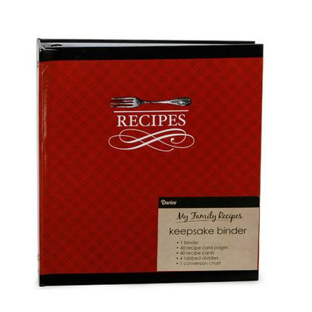 Recipe Binder Red Cutlery 40 Pages 40 Cards 4 Tabs (Diy Recipe Binder)