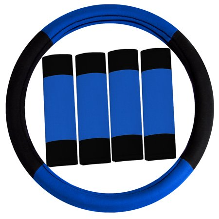 Foam Padded Steering Wheel - FH GROUP Modernistic Steering Wheel Cover and Seat Belt Pads, Blue