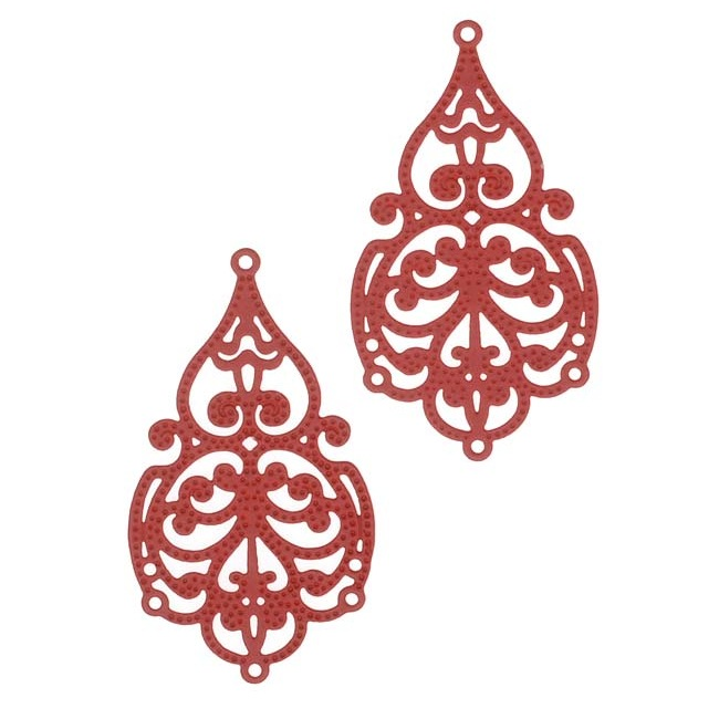 Red Color Coated Brass Filigree Stamping By Ezel - Ornate Scroll Chandelier Findings 32mm (2)