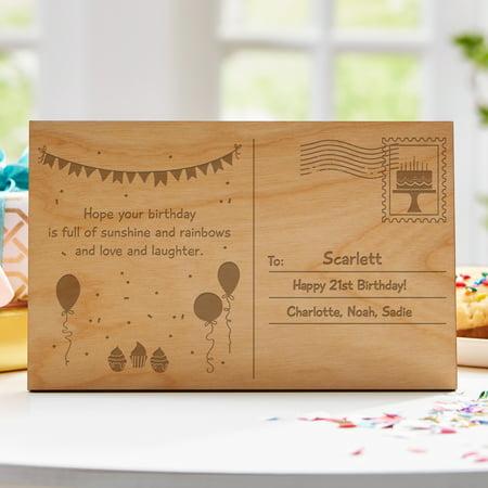 Personalized Birthday Wood Postcard - Personalized Birthday Cards