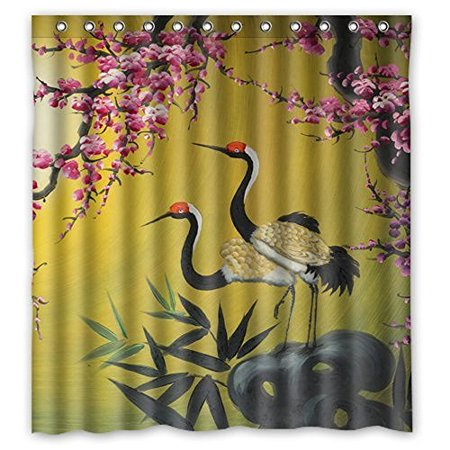 - HelloDecor Asian Art Chinese Crane Bird And Peach Blossoms Shower Curtain Polyester Fabric Bathroom Decorative Curtain Size 66x72 Inches