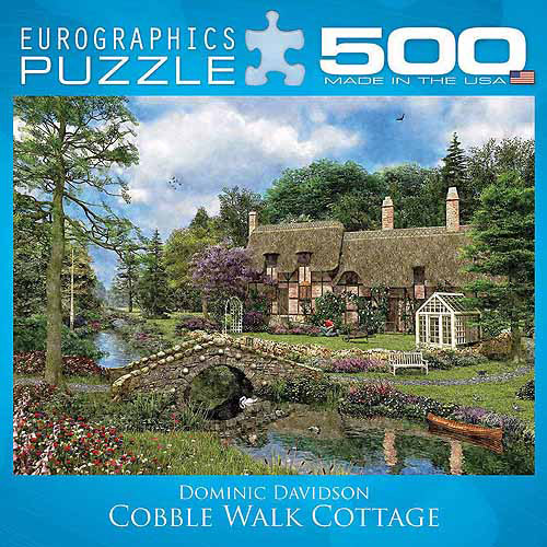 EuroGraphics Cobble Walk Cottage by Dominic Davidson 500-Piece Puzzle, Small Box