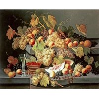 Still Life With Fruit and a Glass of Champagne Stretched Canvas - Severin Roesen (10 x 12)