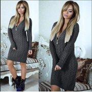 Long Sleeve Knit Dress Women Winter Zipper Slim Sweater Dress
