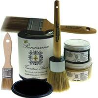 "Renaissance Chalk Furniture Paint Deluxe Starter Kit - Midnight Black - 32oz Paint/13oz Clear Wax/4oz Dark Wax/2"" Paint Brush/1.5"" Wax Brush/1"" Detail Wax Brush"