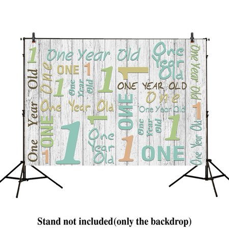 GreenDecor Polyster 7x5ft photography backdrops 1st one year old birthday party event banner green wood floor Newborn props photo studio booth background boys baby shower photocall