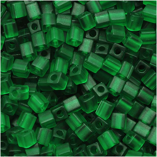 Miyuki 4mm Glass Cube Beads Transparent Matte Dark Green #146F 10 Grams