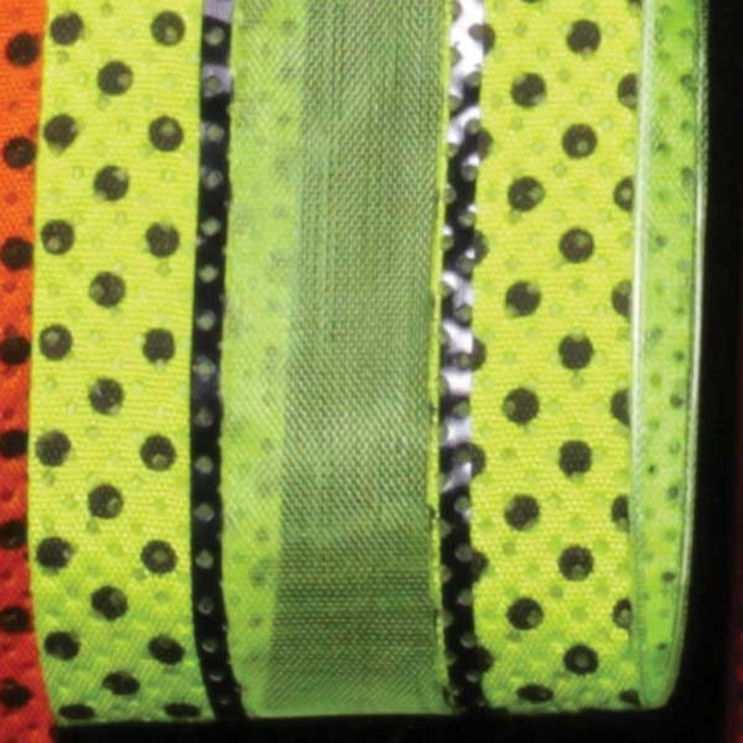 "Just Dotty Bands Lime Green and Black Sheer Wired Craft Ribbon 1.5"" x 40 Yards"