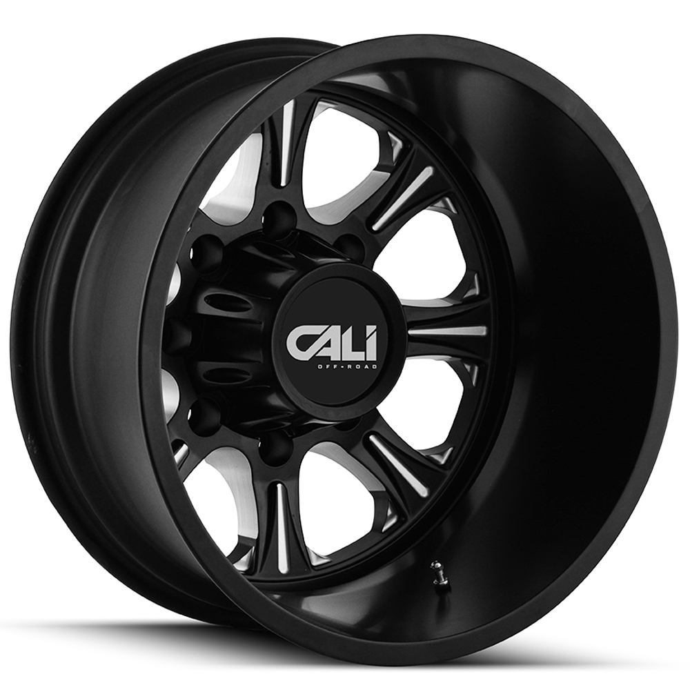 "22"" Inch Cali OffRoad Brutal Dually Rear 8x210 Black/Milled Wheel Rim"
