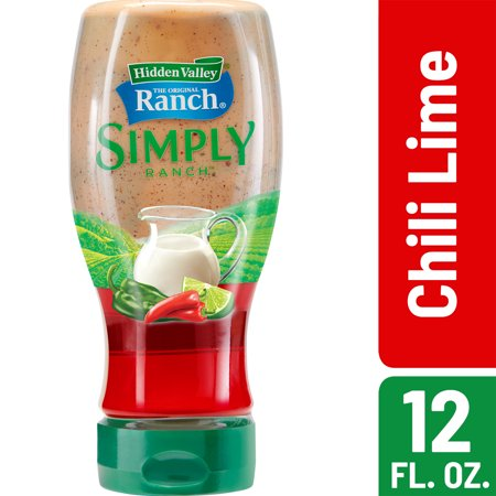 - (3 Pack) Hidden Valley Simply Ranch Chili Lime Salad Dressing & Topping, Gluten Free - 12 oz Bottle