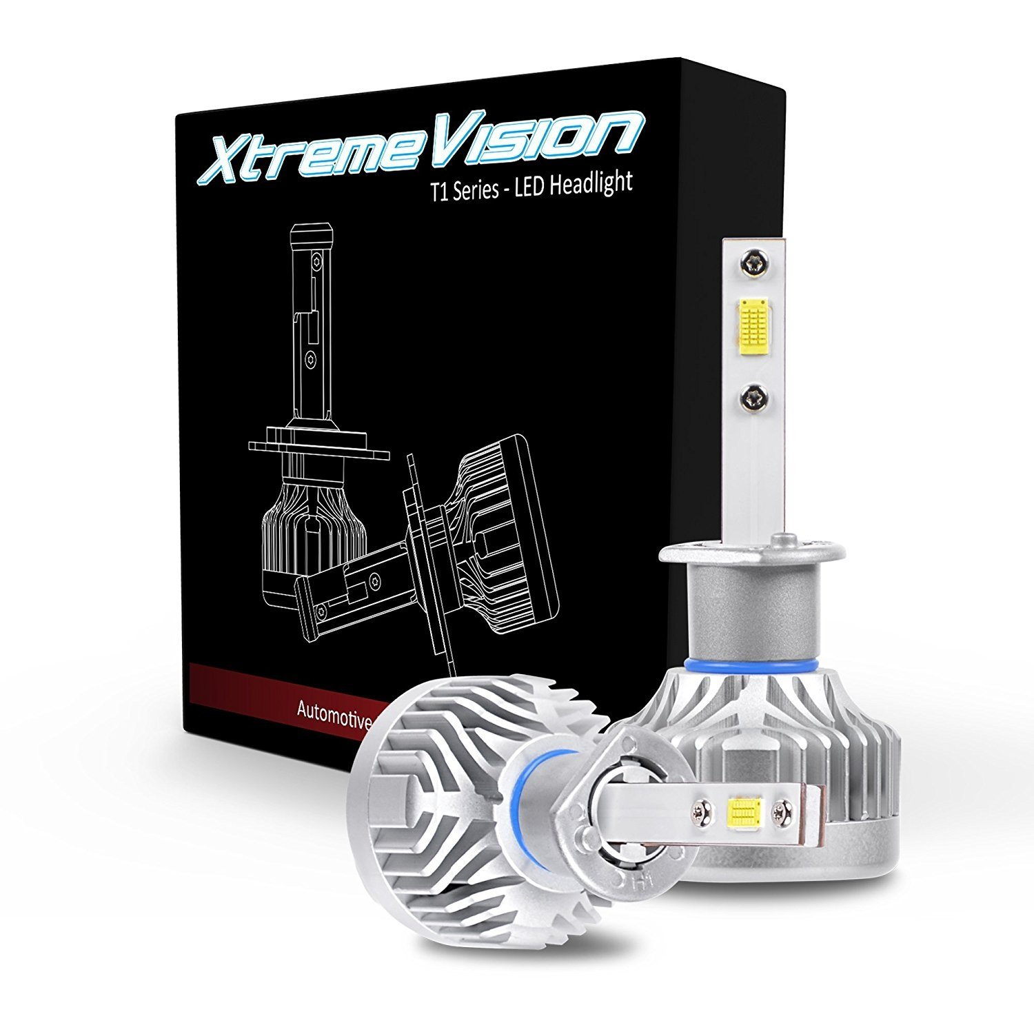 XtremeVision T1 52W 9600LM - H1 LED Headlight Conversion Kit - 6500K Citizen Japan LED - 2018 Version - IP67 Waterproof
