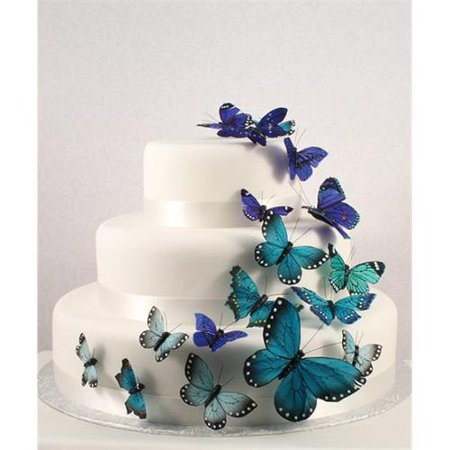 Wedding Cake Decorating Supplies (Beautiful Butterfly Wedding Cake Set In Blue 24 Pieces)