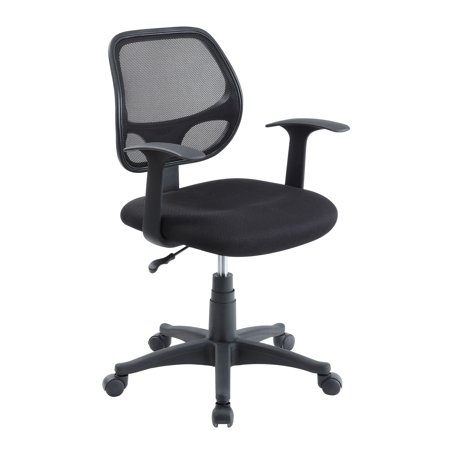 Mainstays Mesh Office Chair With Arms, Black Fabric with Black (Army Office)