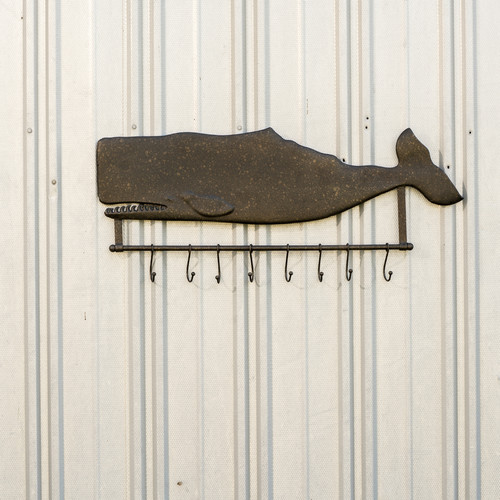 Ragon House Collection Metal Whale Wall Hanging Coat Rack with Hooks