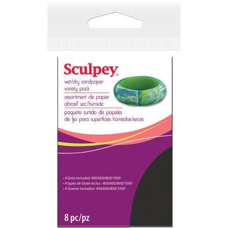 "Sculpey Wet/Dry Sandpaper Variety Pack 8Pc-2.75""X4.5"