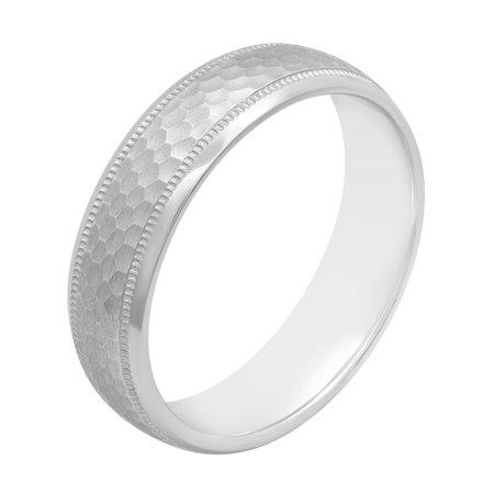 Men's Sterling Silver 6MM Hammered Finish Wedding Band - Mens Ring