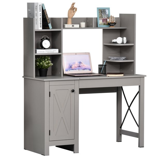 HOMCOM Computer Desk with Hutch and Storage Cabinet,Home Office Computer Workstation, Study Writing Table