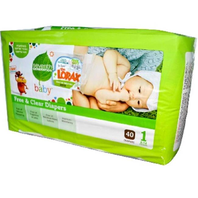Seventh Generation Free & Clear Diapers, Size 1, 40 count