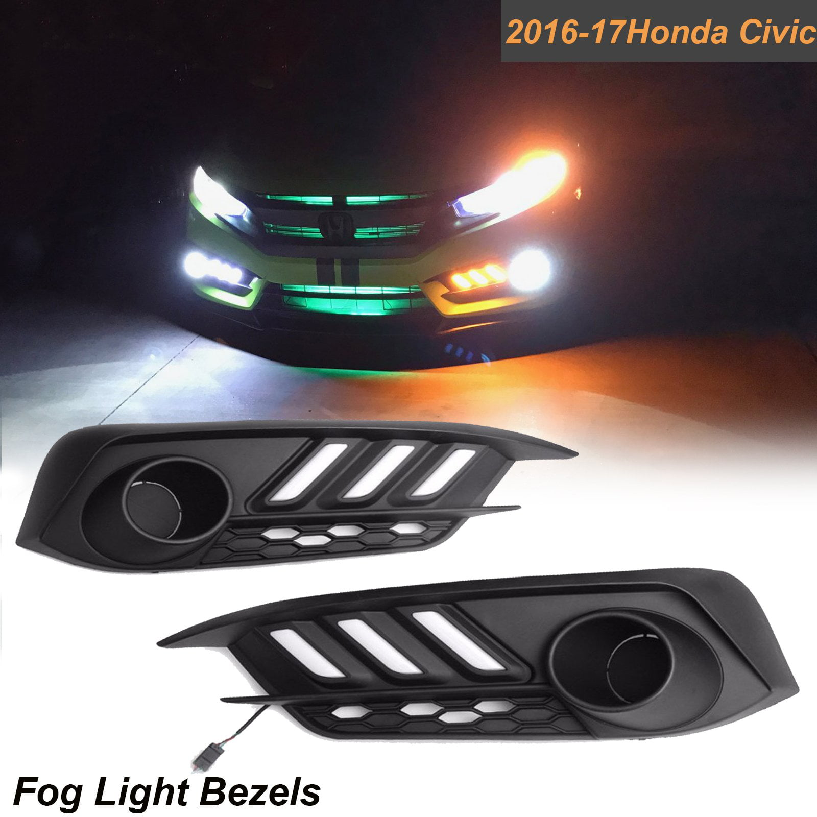 Xotic Tech for Honda Civic 2016 2017 LED Daytime Running DRL / Turn Signal  Light Headlight Kit Fog Light Bezels, Switchback Dual Color Amber White