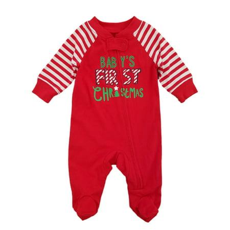 Infant Boys Red Babys First Christmas Sleep   Play Footed Pajama Sleeper -  Walmart.com a47ea3614