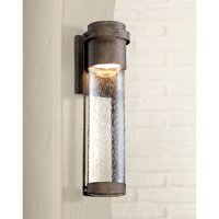 "Possini Euro Design Modern Outdoor Wall Light Fixture LED Painted Bronze 16 1/4"" Clear Seeded Glass Cylinder for House Porch Patio"