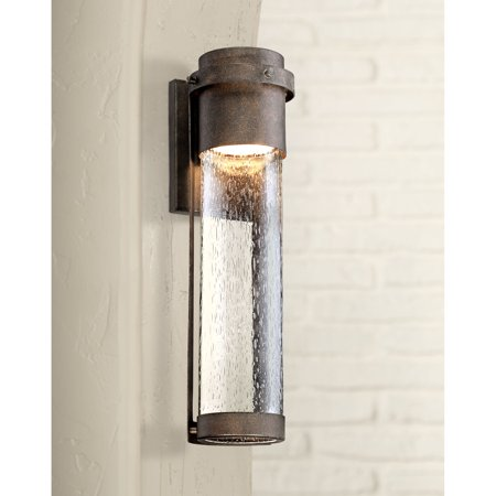 Possini Euro Design Modern Outdoor Wall Light Fixture Led Painted Bronze 16 1 4 Clear Seeded Gl Cylinder For House Porch Patio