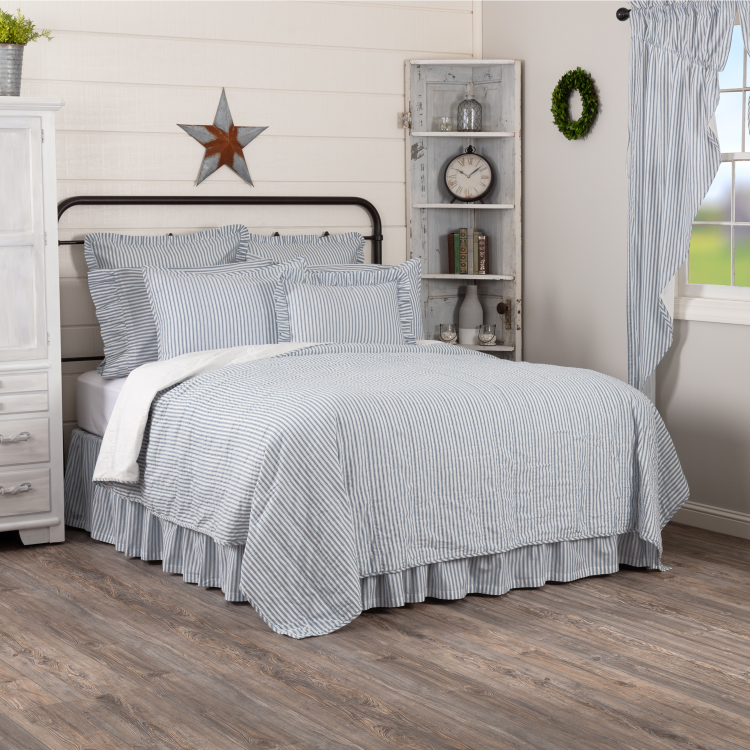 Dark Creme Charcoal White Farmhouse Bedding Miller Farm Charcoal Ticking Stripe Cotton Pre-Washed Striped King Coverlet