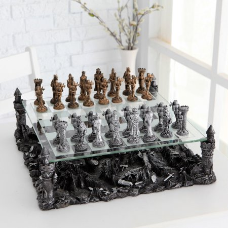 3D Knight Pewter Chess Set (Pewter Staunton Chess)