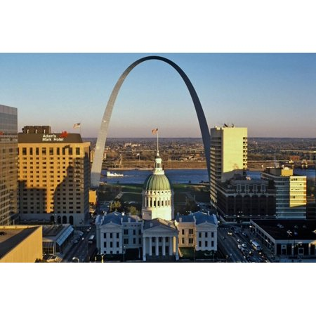 St. Louis arch with Old Courthouse and Mississippi River, MO Print Wall - Halloween Stores St Louis Mo