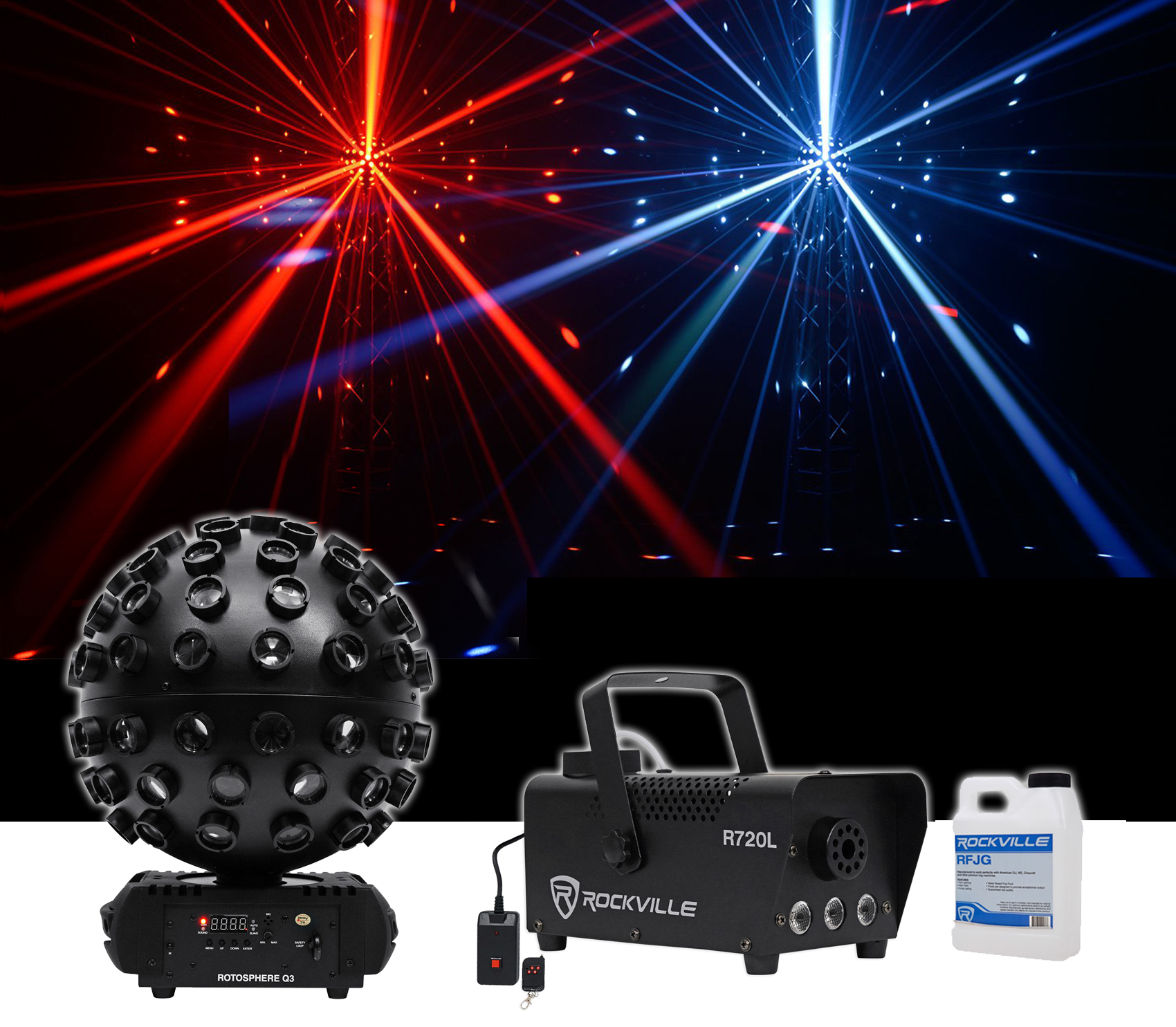 Click here to buy Chauvet DJ Rotosphere Q3 Mirror Ball Dance Floor LED Effect Light + Fog Machine.